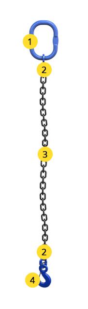 Одноветвевой строп цепной 1СЦ - класс стали 10