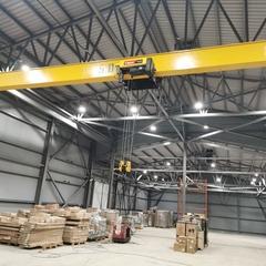 Кран мостовой электрический однобалочный подвесной  г/п 5,0 т, полная длина крана 14,8м (1,4+12,0+1,4), высота подъема 8,0 метров,  режим работы А3. Таль тип ТВМ электрическая с уменьшенной строительной высотой модель SHA8